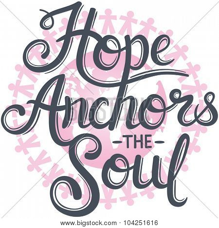 hope anchors the soul against pink earth for breast cancer