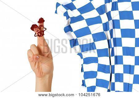 Oktoberfest character fingers against blue and white flag