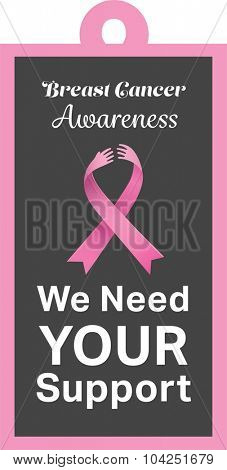 Breast cancer awareness message on poster on white background