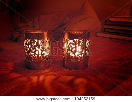 Candle holders with light