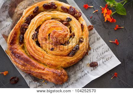 Raisin Danish Pastry Swirl, Brioche, Top View