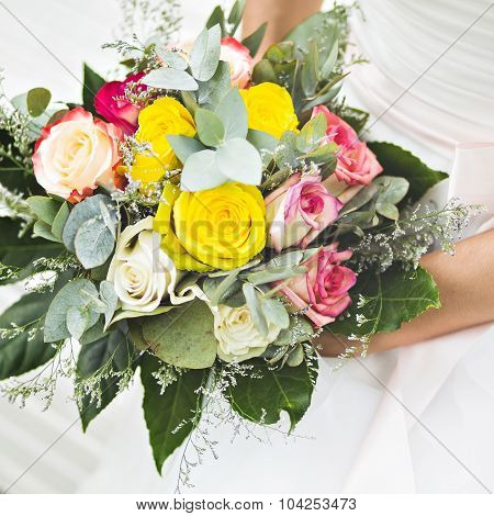 Wedding bridal bouquet of flowers.