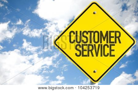 Customer Service sign with sky background