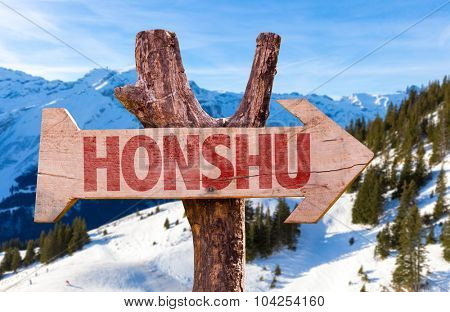 Honshu wooden sign with winter background