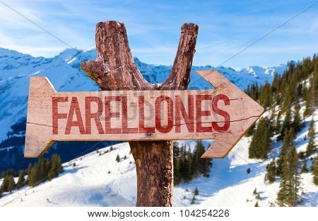 Farellones wooden sign with winter background
