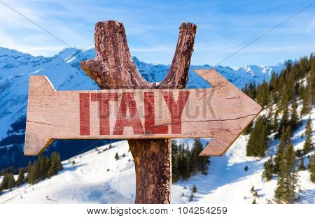 Italy wooden sign with winter background