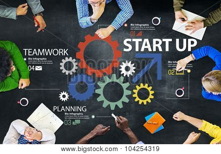 Startup New Business Plan Strategy Teamwork Concept