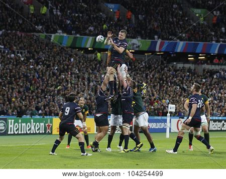 LONDON, ENGLAND - OCTOBER 07 2015: The 2015 Rugby World Cup Pool B match between South Africa and USA at The Olympic Stadium on October 7, 2015 in London, United Kingdom