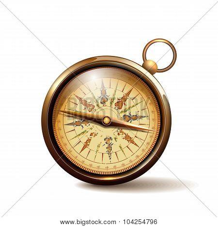 Vintage brass metal compass.