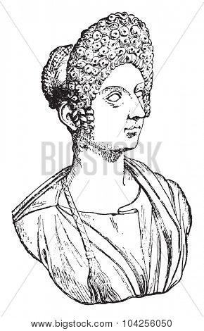 Flavia Julia Titi, daughter of Titus, vintage engraved illustration.