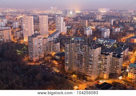 Evening view of Moscow uptown near the forest