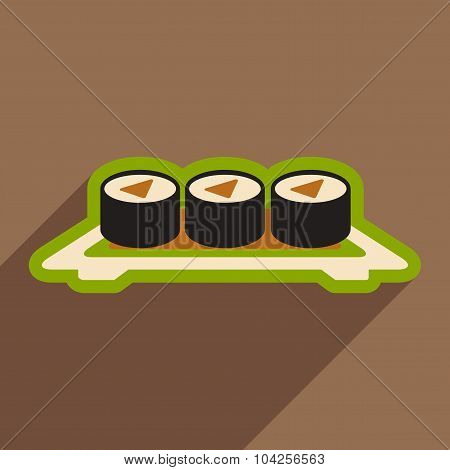 Flat with shadow icon sushi rolls on plate stylish background