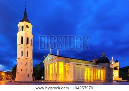 Cathedral Square in the evening, Vilnius.