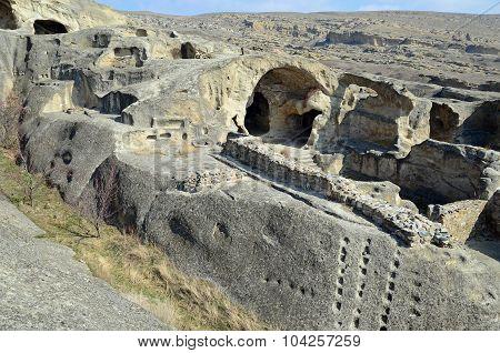 Ruined Rooms Of Ancient Cave City Uplistsikhe In Gori Region, Georgia.