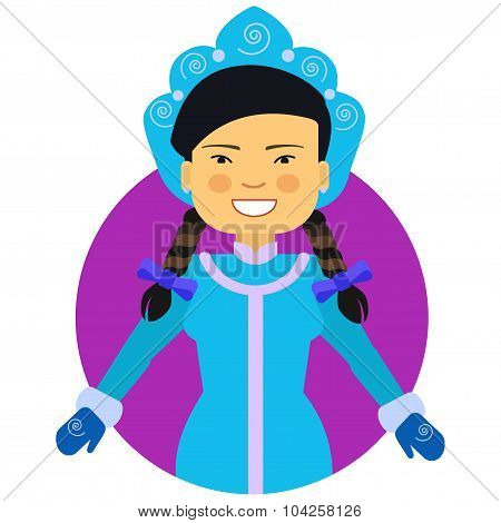 Smiling Asian woman in fancy dress