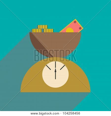 Flat with shadow icon Scale full of money