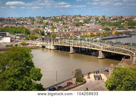 ROCHESTER, UK - MAY 16, 2015: Landscape around of Rochester city  include beautiful bend of river Ke