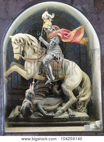 Bethlehem, Palestine - July 12, 2015 Church Of The Nativity In Bethlehem. Sculpture Of St. George. K