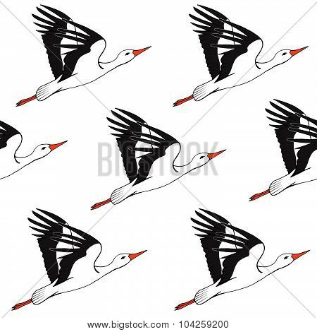 Vector Seamless Background With Storks, Realistic Stork Flying Pattern
