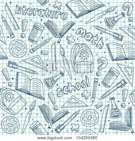 Vector School Supplies Pattern, Hand Drawn Blue Repeatable Graphic School Background Doodle Style