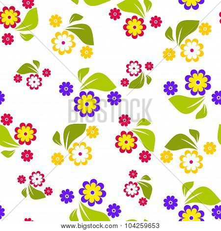 Seamless pattern of violet, red and yellow flowers on white background - vector illustration