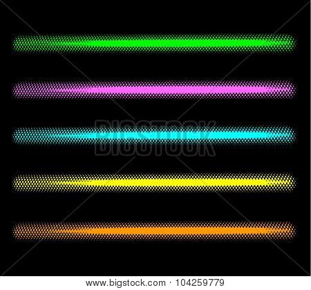 Tube Halftone Neon Effect In Multiple Color Over Black