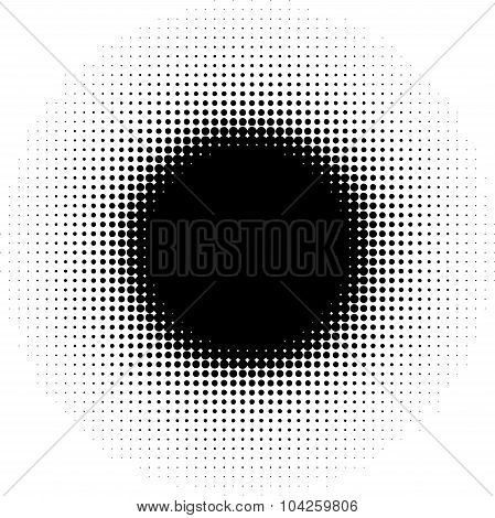 Radial Graphical Black And White Gradient In Halftone Style