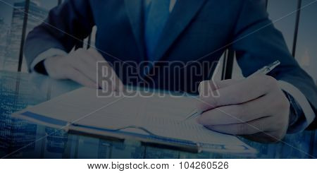 Businessman Analysing Working Writing Management Concept