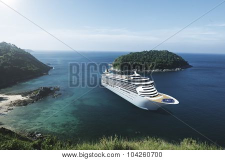 Cruise Ship in the Ocean with Blue Sky Concept