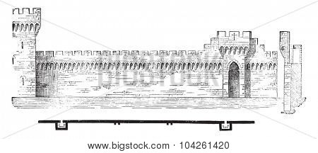 Plan and section of the ramparts of Avignon, vintage engraved illustration. Industrial encyclopedia E.-O. Lami - 1875.