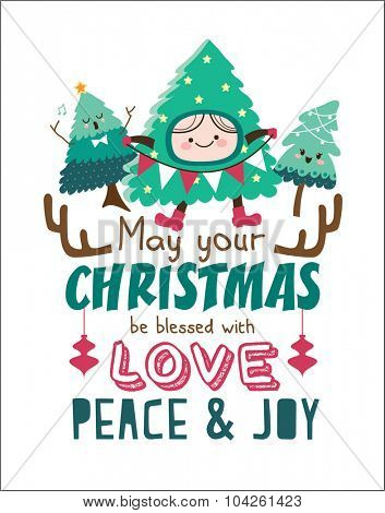 Christmas poster/ card with cute Christmas trees