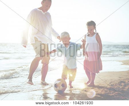 Family Playing Football Soccer Parenting Running Concept