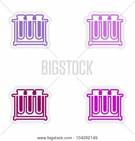 Set of paper stickers on white background flask in stand