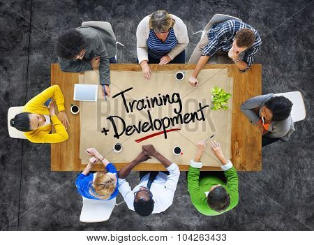 People in a Meeting with Training and Development Concept