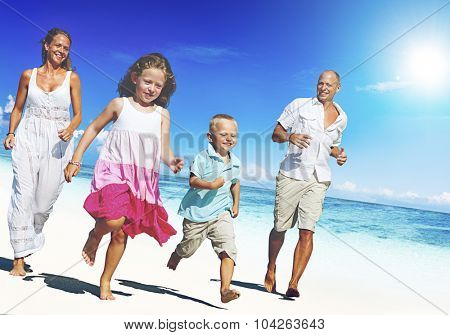 Young family enjoying their summer vacation Concept