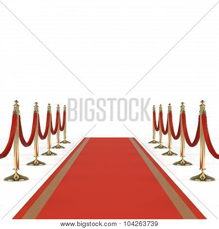 Red carpet with red ropes