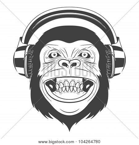 Monkey with headphones