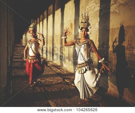 Aspara Dancers at Angkor Wat Traditional Concept