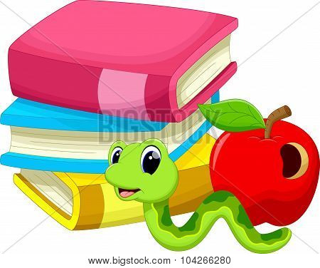 Illustration of book worm