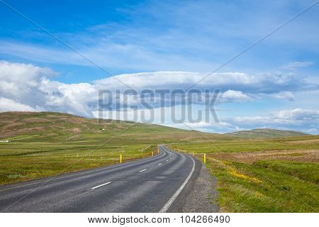 Scenic asphalt road in Iceland
