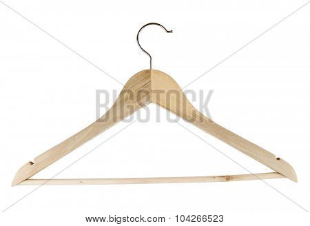 Wooden coat hanger on plain background