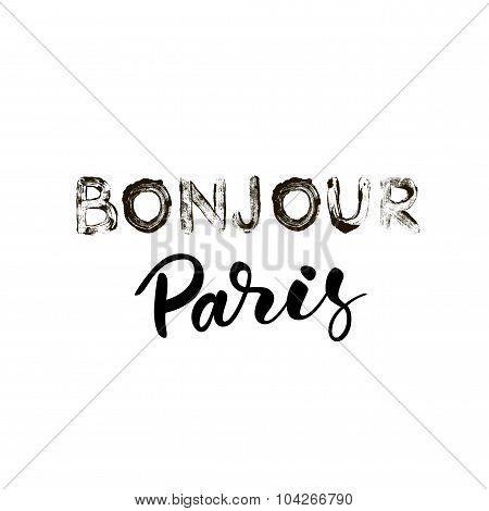 Bonjour Paris card or poster.