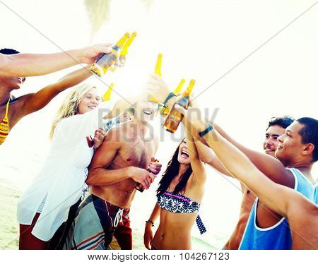 Friends Beach Party Drinks Toast Celebration Concept