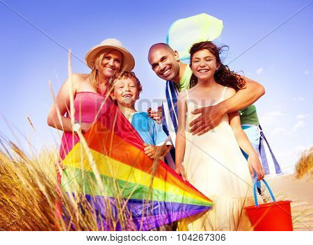 Cheerful Family Bonding Outdoors Concept