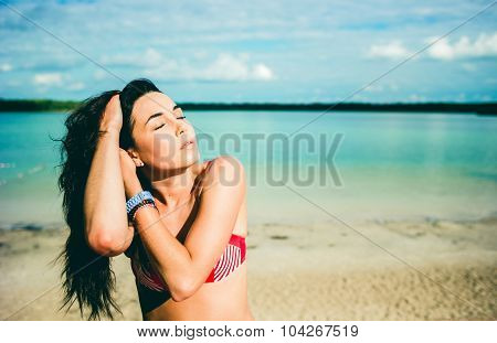 Portrait Of Young Girl Outdoor On The Beach