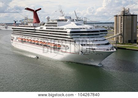 Orlando, Florida- September 26, 2015: Carnival Cruise Line, cruise ship Carnival Sunshine Sets Sail from Orlando, Florida September 26, 2015. Cruise Ships sail around the world visiting exotic lands.