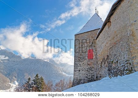 Beautiful Winter Landscape With The Castle Of Gruyeres And Alp Mountains