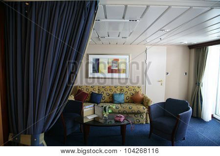 Orlando, Florida  September 26, 2015: Cruise ship Royal Caribbean Suite Cabin views on September 26, 2015.