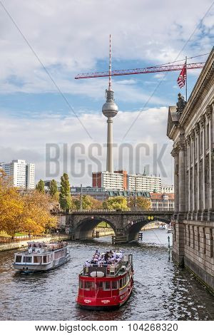 Tourist Boats On The Spree River, Berlin City