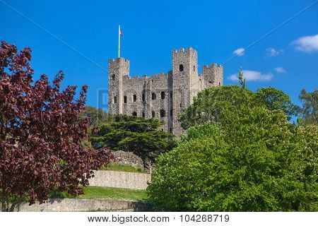 ROCHESTER, UK - MAY 16, 2015: Rochester Castle 12th-century. Castle and ruins of fortifications. Ken